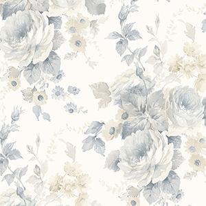 La Rosa Blue, Beige and White Floral Wallpaper