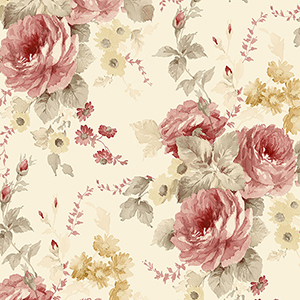 La Rosa Yellow, Red and Green Floral Wallpaper