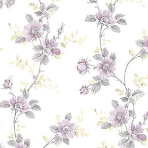 Poppy Grey and Purple Floral Wallpaper