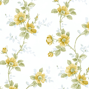 Poppy Yellow, Green and Blue Floral Wallpaper