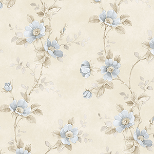 Poppy Blue and Beige Floral Wallpaper
