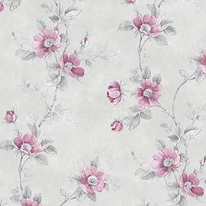 Poppy Pink and Grey Floral Wallpaper
