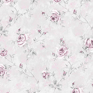 Painted Rose Trail Pink and Grey Wallpaper