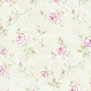 Painted Rose Trail Pink and Green Wallpaper