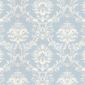 Document Damask Pearl and Light Blue Wallpaper