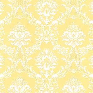 Document Damask Yellow and White Wallpaper