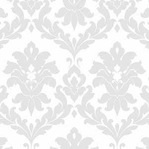 Plaza Damask Grey and White Wallpaper