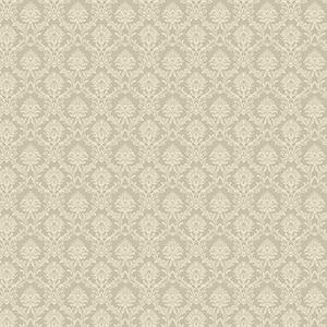 Cream and Metallic Gold Mini Damask Wallpaper