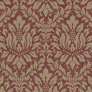 Stitched Damask Red and Metallic Gold Wallpaper