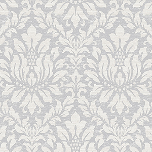 Stitched Damask Grey, Beige and Metallic Silver Wallpaper