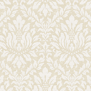 Stitched Damask Beige and Grey Wallpaper