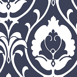 Italian Damask Navy and White Wallpaper