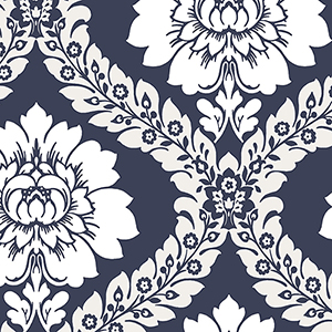 Daisy Damask Navy and White Wallpaper