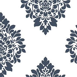Medallion Damask Navy and White Wallpaper