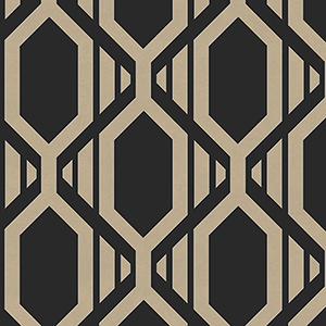 Gatsby Black and Metallic Gold Wallpaper