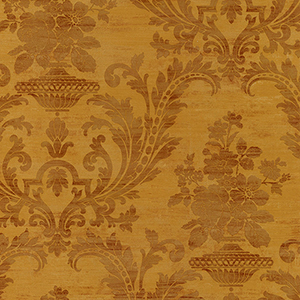 Sari Damask Metallic Gold and Brown Wallpaper