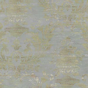 Sari Damask Blue and Brown Wallpaper
