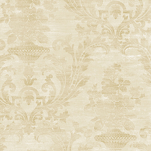 Sari Damask Pearl and Beige Wallpaper