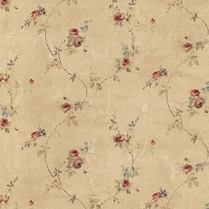 White Wedding Trail Beige and Red Floral Wallpaper