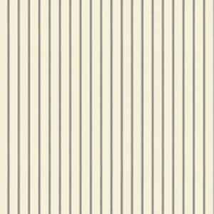 Ticking Stripe Black and Cream Wallpaper