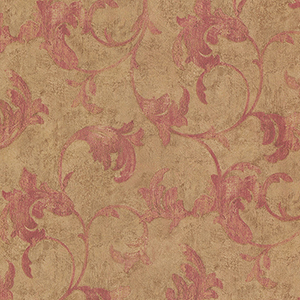 Veneto Metallic Gold and Red Leaf Scroll Wallpaper