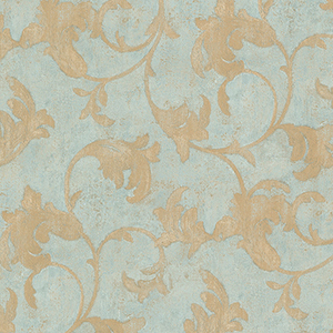 Veneto Metallic Gold and Turquoise Leaf Scroll Wallpaper