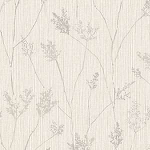Cow Parsley Cream and Grey Wallpaper