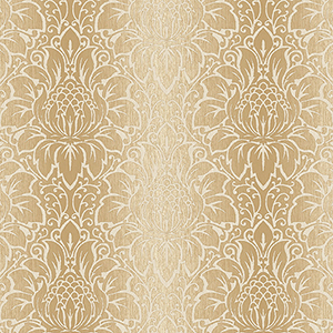 Venetian Damask Cream and Tan Wallpaper