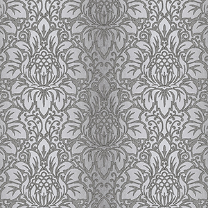 Venetian Damask Black, Grey and Metallic Silver Wallpaper