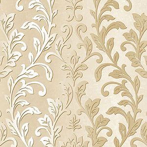 Silver Leaf Damask Cream and Metallic Gold Wallpaper