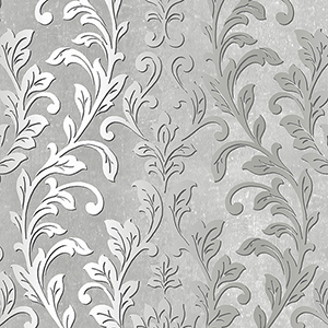 Silver Leaf Damask Black and Grey Wallpaper