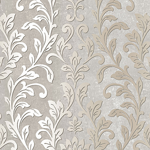 Silver Leaf Damask Grey and Taupe Wallpaper