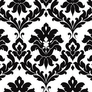 Plaza Damask Black and White Wallpaper
