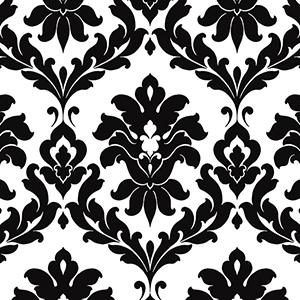 Plaza Damask Black and White Wallpaper