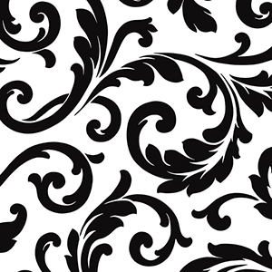 Hyatt Scroll Black and White Wallpaper