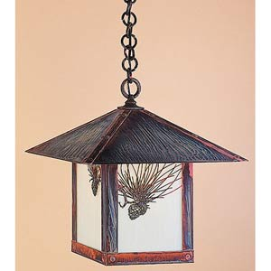 Evergreen Medium Off White Pine Needle Outdoor Pendant