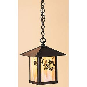 Evergreen Medium Gold White Iridescent Sycamore Outdoor Pendant