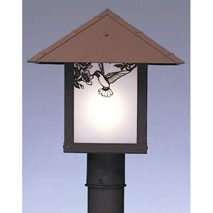 Evergreen Small Frosted Hummingbird Outdoor Post Mount