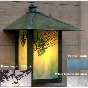 Evergreen Gold White Opalescent Pewter Hummingbird Outdoor Wall