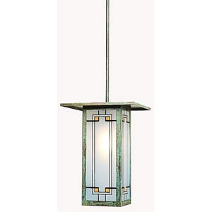 Franklin Yellow and Black Long Stem Hung Outdoor Pendant