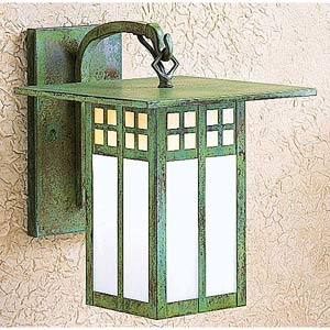 Glasgow Small Gold and White Opalescent Long Outdoor Wall Mount