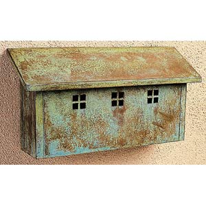 Glasgow Verdigris Patina Mail Box - Horizontal
