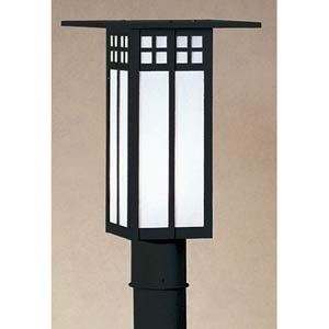 Glasgow White Opalescent Outdoor Post Mount