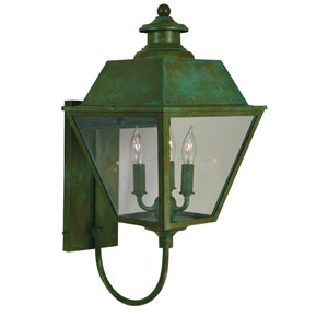 Inverness Verdigris Patina Three-Light Outdoor Wall Mount