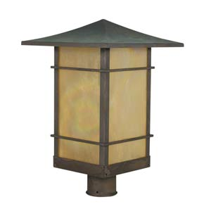 Katsura Small Gold White Iridescent Toshi Outdoor Post Mount