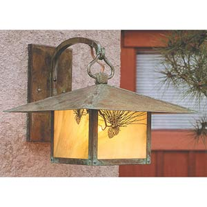 Monterey Medium Gold White Iridescent Pine Needle Outdoor Wall Mount