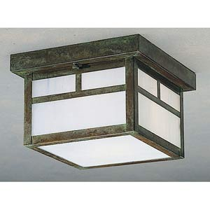 Mission White Opalescent T-Bar Outdoor Flush Mount