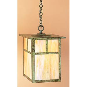 Mission Extra Large Gold White Iridescent T-Bar Outdoor Pendant