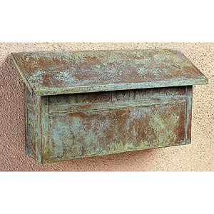 Mission Verdigris Patina Mail Box - Horizontal