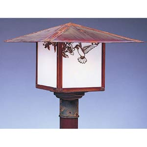 Monterey Small White Opalescent Hummingbird Outdoor Post Mount